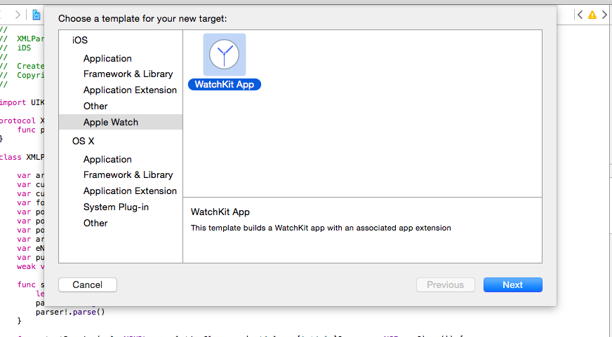 Add a WatchKit app target in your project